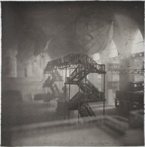 Above image: Lothar Osterburg, Zeppelins Docking at Grand Central, 2013, photogravure with gampi chine colle, 30 x 30 in.