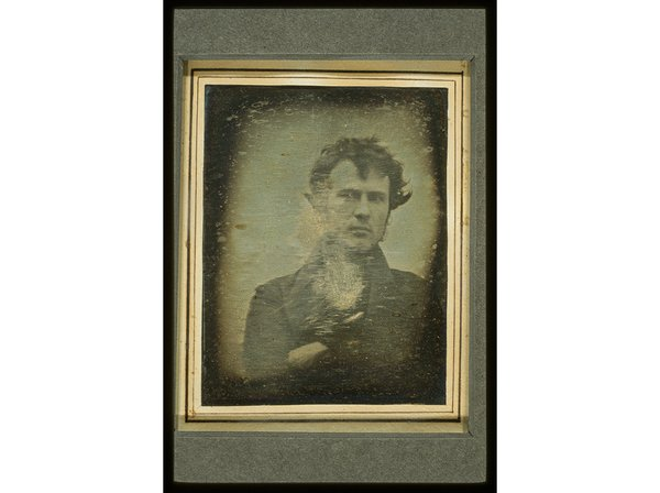 For what could be the first American selfie, Philadelphian Robert Cornelius took this self-portrait in 1839 using a box fitted with a lens. (Library of Congress Prints and Photographs Division)