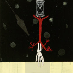 Untitled (hand with time and pendulum) 11 x 14 mixed media with collage on board
