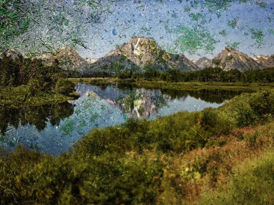 Abelardo Morell, Tent Camera Image on Ground: View of Mount Moran and the Snake River from Oxbow Bend, Grand Teton National Park, Wyoming, 2011. Inkjet print. © Abelardo Morell, Courtesy the artist and Edwynn Houk Gallery, New York.