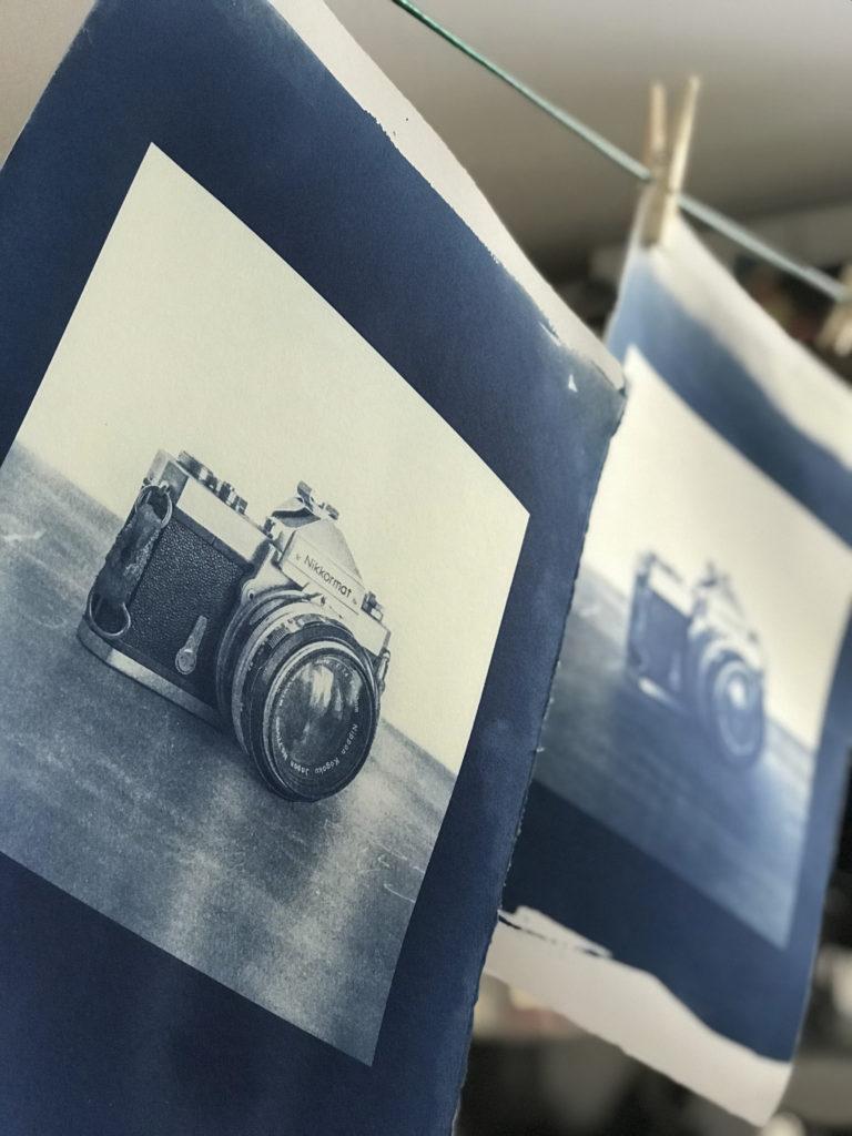 cyanotype hang drying