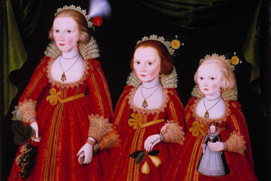 British artist, Three Young Girls, early 1600s. Oil paint on panel; 32-1/2 × 44-3/8 in. Promised Gift of the Berger Collection Educational Trust, TL-18018.