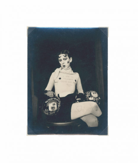 "Claude Cahun (Lucy Schwob) and Marcel Moore (Suzanne Malherbe), ""Untitled [I am in training don't kiss me]"" (1927), gelatin silver print, 4 5/8 x 3 1/2 in. (Jersey Heritage Collection)"