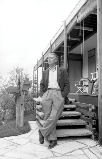 Aspen Historical Society; Aspen Illustrated News Collection Herbert Bayer at his home on Red Mountain in Aspen, 1965