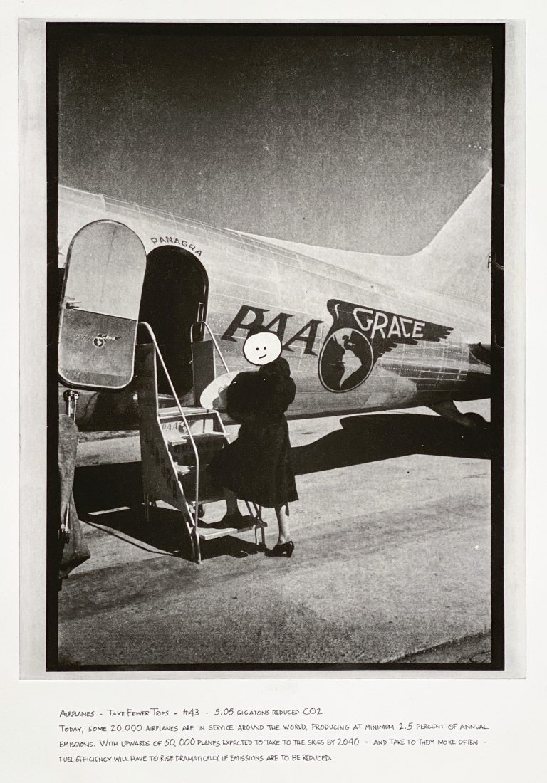 """""""Airplanes: Take Fewer Trips"""" 2020 Photogravure etching with written text 17"""" x 20.5"""" - Awagami Bamboo paper Edition of 5 --- Photo: Library of Congress no. 2014646480; Nov. 1939 