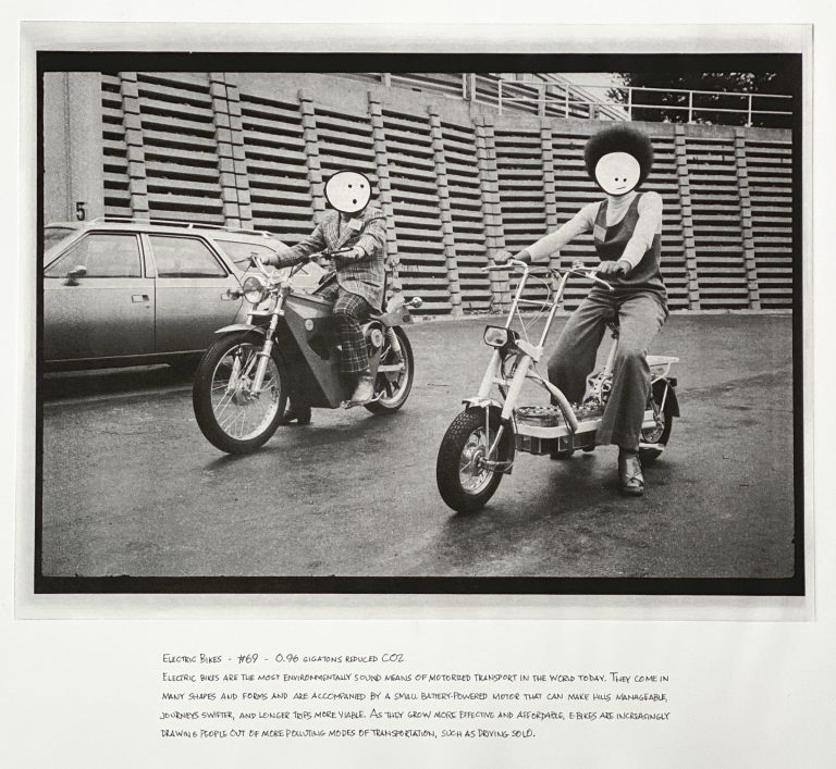 """""""Electric Bikes"""" 2020 Photogravure etching with written text 17"""" x 20.5"""" - Awagami Bamboo paper Edition of 5 --- Photo: Library of Congress no. 2018654090; 1974 February 19. 