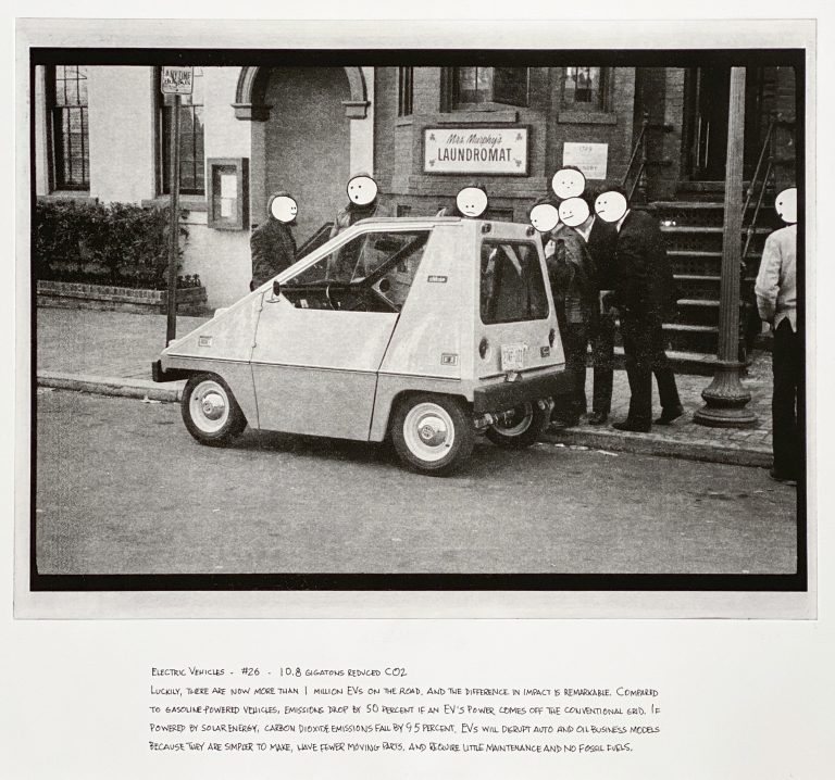 """""""Electric Vehicles"""" 2020 Photogravure etching with written text 17"""" x 20.5"""" - Awagami Bamboo paper Edition of 5 --- Photo: Library of Congress no. 2018654089; 1974 February 18. 