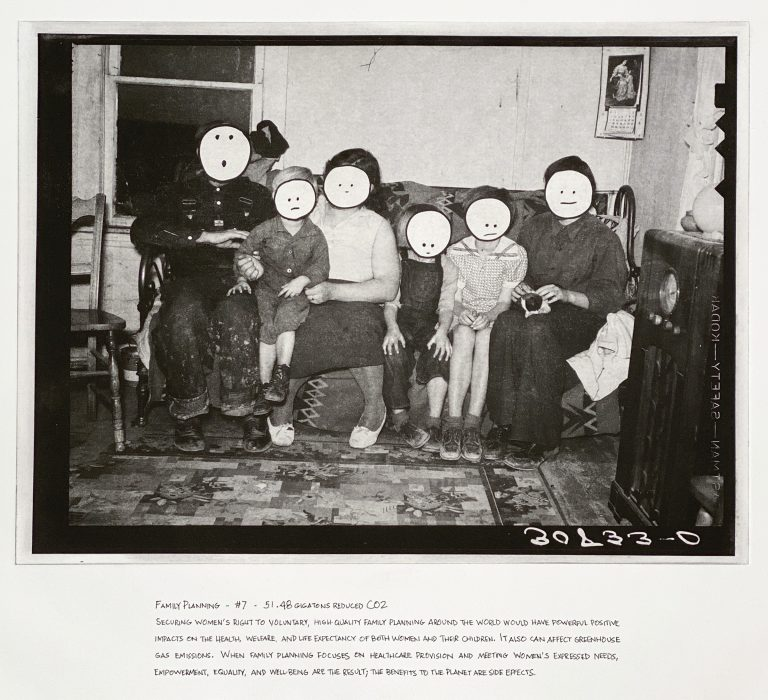 """""""Family Planning"""" 2020 Photogravure etching with written text 17"""" x 20.5"""" - Awagami Bamboo paper Edition of 5 --- Photo: Library of Congress no. 2017780826; 1937 Oct. 