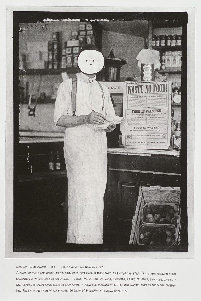 """""""Reduced Food Waste"""" 2020 Photogravure etching with written text 17"""" x 20.5"""" - Awagami Bamboo paper Edition of 5 --- Photo: Library of Congress no. 2016868064; 1917 or 1918 