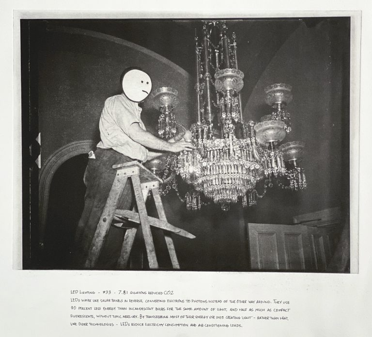 """""""LED Lighting"""" 2020 Photogravure etching with written text 17"""" x 20.5"""" - Awagami Bamboo paper Edition of 5 --- Photo: Library of Congress no. 2016890478; 1935 or 1936 