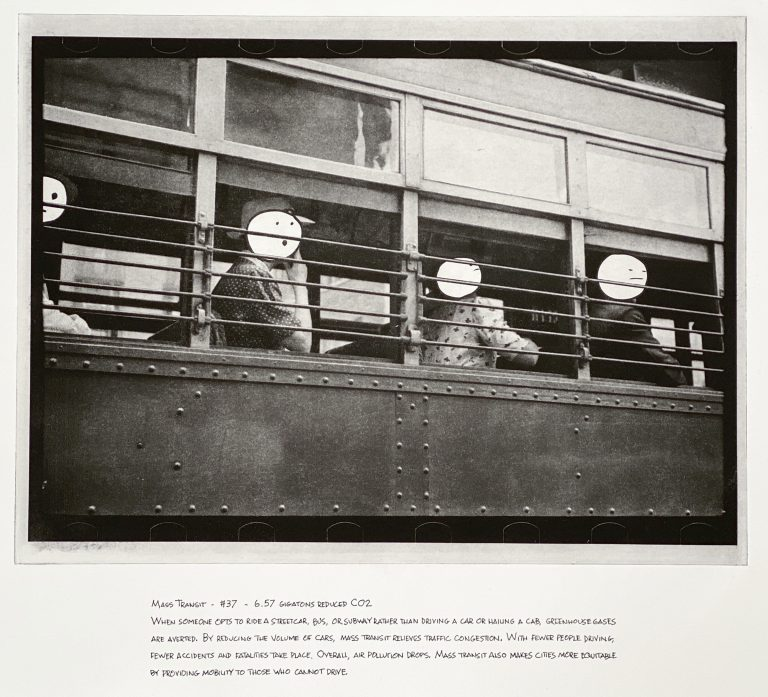 """""""Mass Transit"""" 2020 Photogravure etching with written text 17"""" x 20.5"""" - Awagami Bamboo paper Edition of 5 --- Photo: Library of Congress no. 2017737173; 1938 Aug. 
