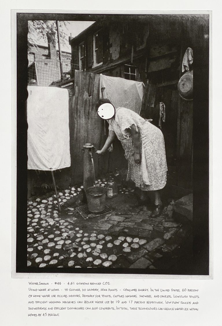 """""""Water Saving"""" 2020 Photogravure etching with written text 17"""" x 20.5"""" - Awagami Bamboo paper Edition of 5 --- Photo: Library of Congress no. 2017714184; 1935 July. 